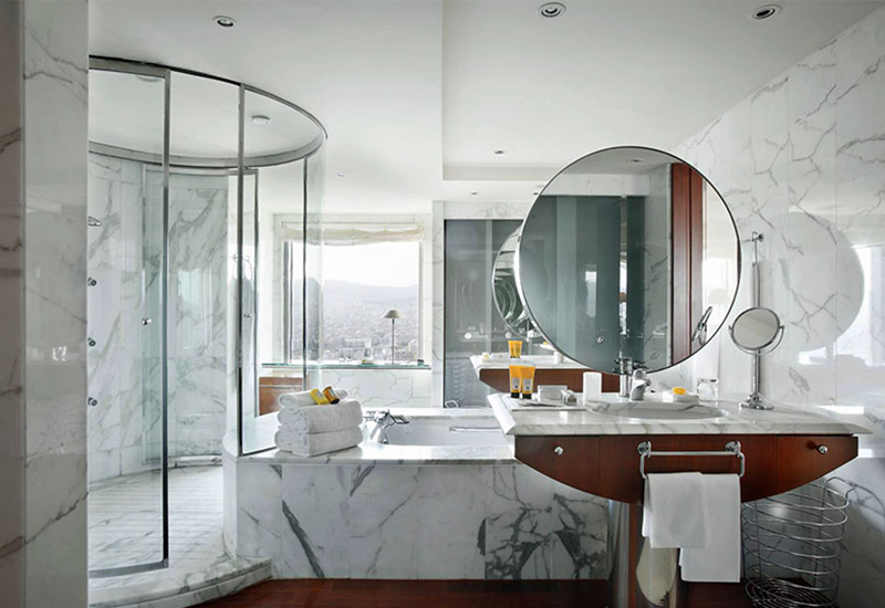 Bathroom beautifully finished in marble