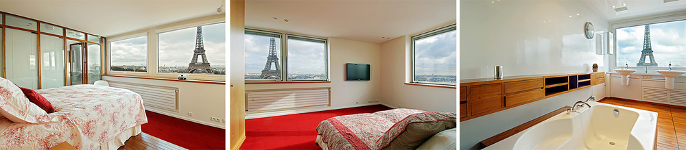 The penthouse features four-bedrooms and can accommodate up to 8 guests. It includes a master bedroom that provides a priceless view of the Eiffel Tower.