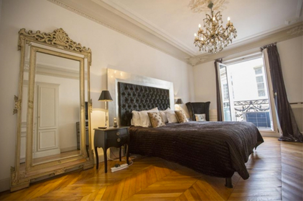 Each Bedroom features its own bathroom. Silk and satin features prominently. Floor-to-ceiling French windows can be flung open to the sights, sounds and smell of Paris.