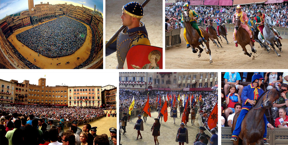 Palio di Siena ,or Il Palio is a fiercely contested horse race that has locals competing for Neighborhood pride and local bragging rights..