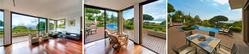 Recently renovated, the open plan living area includes two sofas, fireplace, entertainment system and terrace access.
