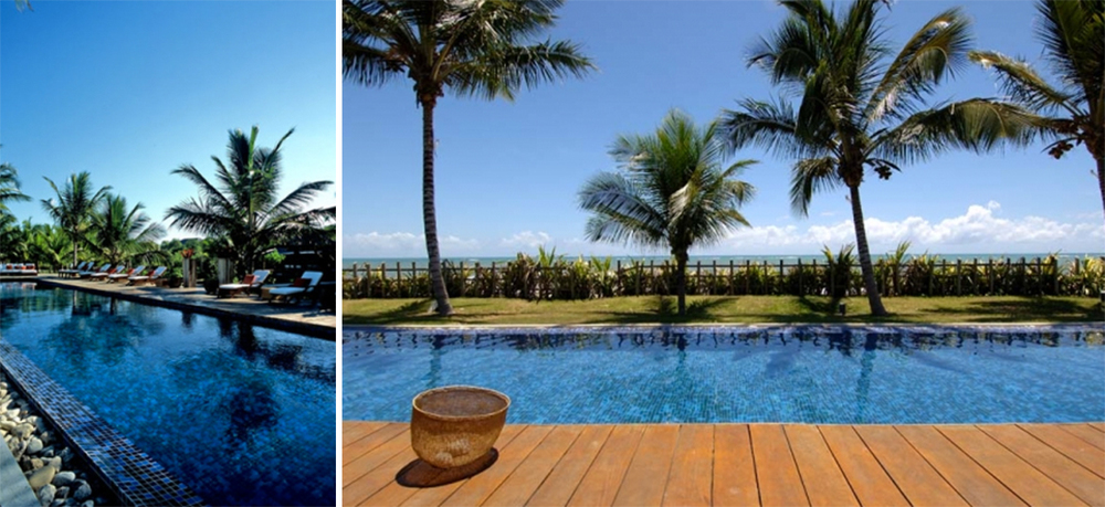 The sprawling beachfront property features a massive 80ft. swimming pool and many wooden open terraces.