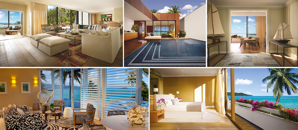 The One&Only Hayman Island provides a variety of deluxe accommodation for its guests including double rooms, one and two bedroom suites, penthouses, villas and a private beach house with its own pool and butler.